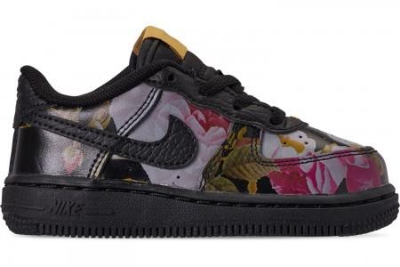 Nike Girls' Toddler Air Force 1 '07 LXX Casual Shoes - Black/Black/Metallic Gold