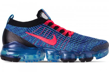 Nike Men's Air VaporMax Flyknit 3 Running Shoes - Blue Fury/Flash Crimson/Racer Blue/Black