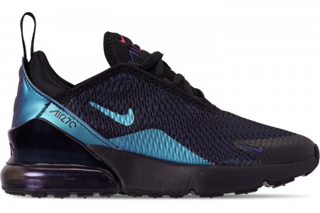 Nike Little Kids' Air Max 270 Casual Shoes - Black/Anthracite/Regency Purple