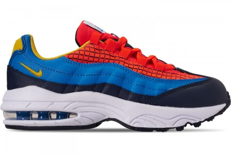 Nike Boys' Little Kids' Air Max 95 Now Casual Shoes - Bright Crimson/Amarillo/Photo Blue
