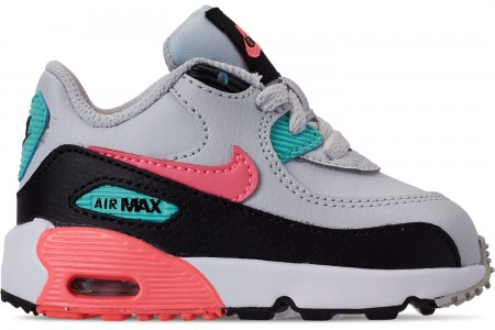 Nike Girls' Toddler Air Max 90 Leather Casual Shoes - Pure Platinum/Lava Glow/Black/Aurora