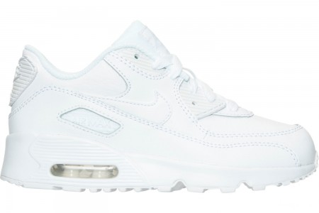 Nike Little Kids' Air Max 90 Leather Casual Shoes - White/White