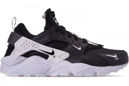 Nike Men's Nike Huarache Premium Zip Casual Shoes - Black/Black/White