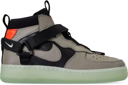 Nike Boys' Big Kids' Air Force 1 Utility Mid Casual Shoes - Spruce Fog/Black