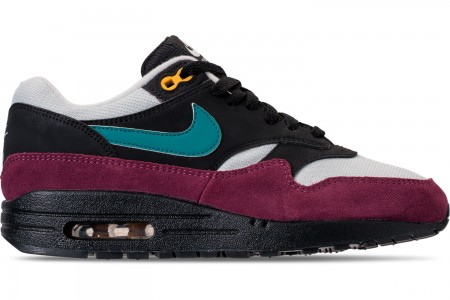 Nike Women's Air Max 1 Casual Shoes - Black/Geode Teal/Light Silver/Bordeaux