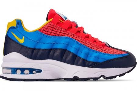 Nike Boys' Big Kids' Air Max 95 Now Casual Shoes - Bright Crimson/Amarillo/Photo Blue