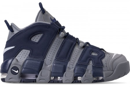 Nike Men's Air More Uptempo '96 Basketball Shoes - Cool Grey/White/Mid Navy