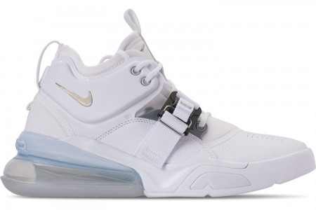 Nike Men's Air Force 270 Off-Court Shoes - White/Metallic Silver