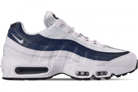 Nike Men's Air Max 95 Essential Casual Shoes - White/Midnight Navy/Monsoon Blue