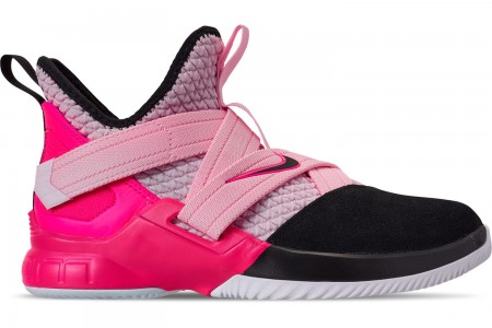 Nike Boys' Big Kids' LeBron Soldier 12 Basketball Shoes - Pink Foam/Black/Hyper Pink/White