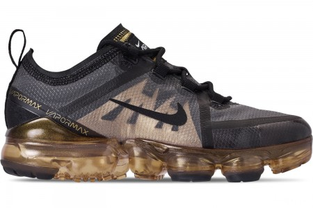 Nike Big Kids' Air VaporMax 2019 Running Shoes - Black/Black/Metallic Gold