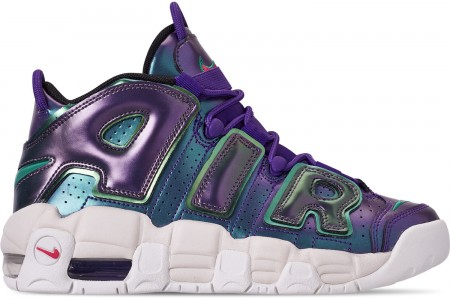 Nike Big Kids' Air More Uptempo SE Basketball Shoes - Court Purple/Rush Pink/Neptune/Green