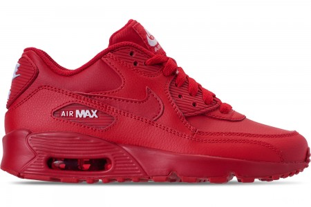 Nike Big Kids' Air Max 90 Leather Casual Shoes - University Red