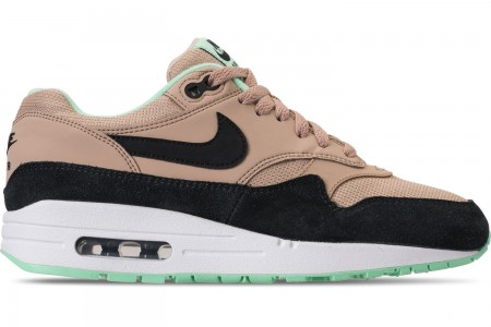 Nike Women's Air Max 1 Casual Shoes - Desert/Black/Green Glow/White