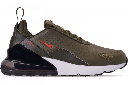 Nike Men's Air Max 270 Premium Leather Casual Shoes - Medium Olive/Team Orange/Cargo Khaki