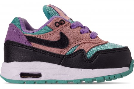 Nike Kids' Toddler Air Max 1 Casual Shoes - Black/White/Space Purple/Bleached Coral