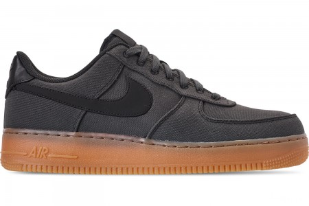 Nike Men's Air Force 1 '07 LV8 Style Casual Shoes - Black/Black/Gum Medium Brown
