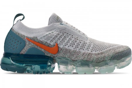 Nike Women's Air VaporMax Flyknit MOC 2 Running Shoes - Light Silver/Campfire Orange/Dark Stucco
