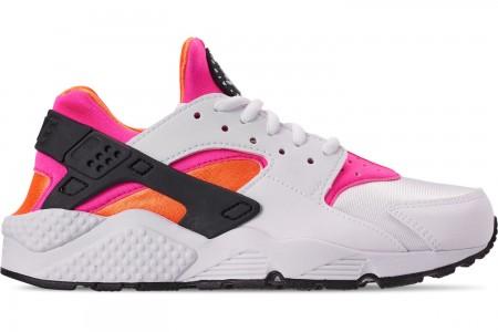 Nike Women's Nike Air Huarache Casual Shoes - White/White/Total Orange/Pink Pow