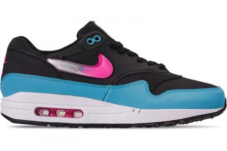 Nike Men's Air Max 1 Casual Shoes - Light Blue/Laser Fuchsia/Black