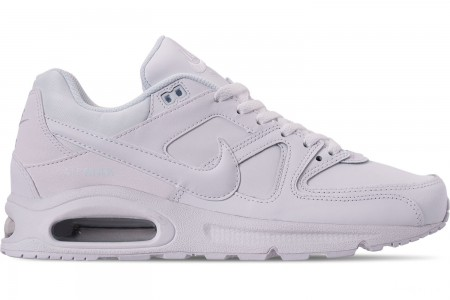 Nike Men's Air Max Command Leather Casual Shoes - White/White/Metallic Silver