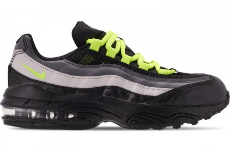 Nike Boys' Little Kids' Air Max 95 Casual Shoes - Black/Volt/Dark Grey/Light Bone