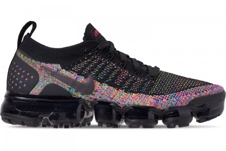 Nike Men's Air VaporMax Flyknit 2 Running Shoes - Black/Black/Racer Pink/Racer Blue