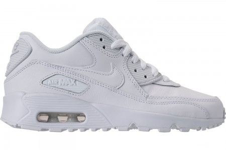 Nike Big Kids' Air Max 90 Leather Casual Shoes - White/White