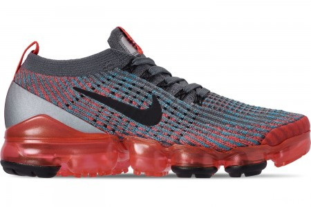 Nike Women's Air VaporMax Flyknit 3 Running Shoes - Flash Crimson/Black/Cool Grey/Blue Fury