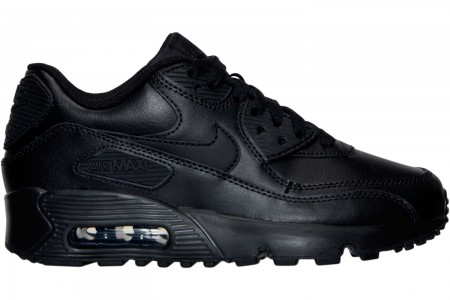 Nike Big Kids' Air Max 90 Leather Casual Shoes - Black/Black