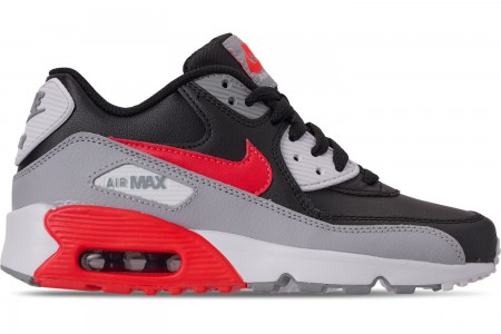 Nike Big Kids' Air Max 90 Leather Casual Shoes - Wolf Grey/Bright Crimson/Black/White