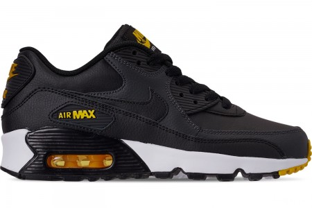Nike Big Kids' Air Max 90 Leather Casual Shoes - Black/Amarillo/Anthracite/White