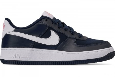Nike Girls' Big Kids' Air Force 1 VDay Casual Shoes - Obsidian/White/Bleached Coral