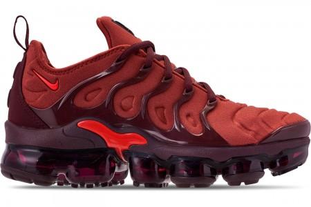 Nike Women's Air VaporMax Plus Casual Shoes - Burnt Orange/Habanero Red/Burgundy
