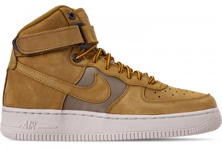 Nike Boys' Big Kids' Air Force 1 High Premium Casual Shoes - Wheat/Khaki/Light Bone/Yellow Ochre