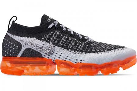 Nike Men's Air VaporMax Flyknit 2 Running Shoes - White/White/Black/Total Orange/Wolf Grey