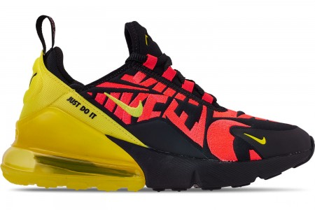 Nike Boys' Big Kids' Air Max 270 Embroidered JDI Casual Shoes - Black/Dynamic Yellow/Bright Crimson