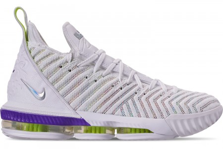 Nike Men's LeBron 16 Basketball Shoes - White/Multi-Color/Hyper Grape/Volt