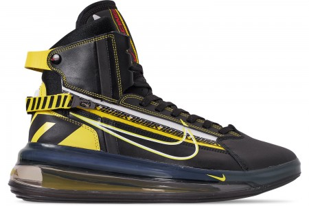 Nike Men's Air Max 720 Satrn All-Star Basketball Shoes - Black/Dynamic Yellow/University Red