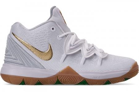 Nike Boys' Little Kids' Kyrie 5 Basketball Shoes - White/Metallic Gold/Pure Platinum