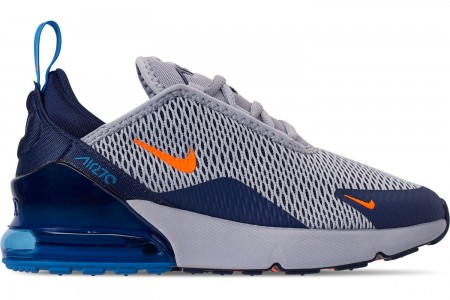 Nike Little Kids' Air Max 270 Casual Shoes - Wolf Grey/Total Orange/Midnight Navy