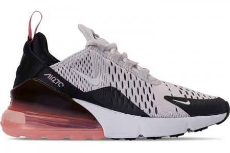 Nike Girls' Big Kids' Air Max 270 Casual Shoes - Platinum Tint/White/Black/Bleached Coral