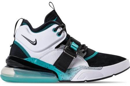 Nike Men's Air Force 270 Off-Court Shoes - Black/White/Wolf Grey/Blue Emerald