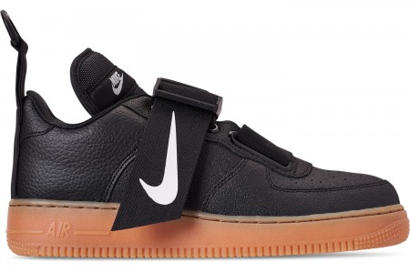 Nike Men's Air Force 1 Utility Casual Shoes - Black/White/Gum Medium Brown