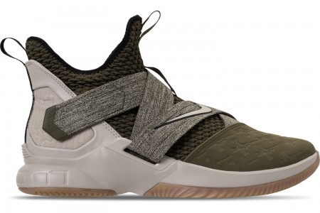 Nike Men's LeBron Soldier 12 Basketball Shoes - Olive Canvas/String/Gum Light Brown