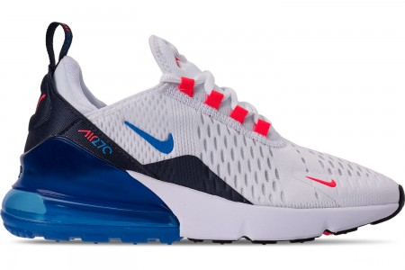 Nike Big Kids' Air Max 270 Casual Shoes - White/Photo Blue/Bright Crimson