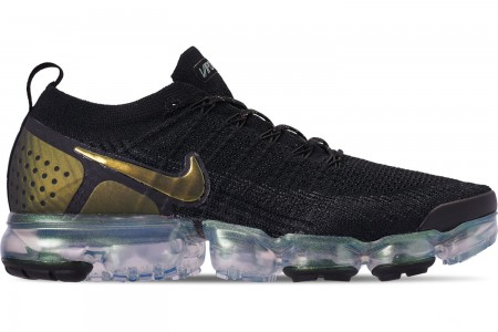 Nike Men's Air VaporMax Flyknit 2 Running Shoes - Black/Multi Color/Metallic Silver