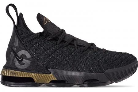 Nike Boys' Big Kids' LeBron 16 Basketball Shoes - Black/Metallic Gold/Black