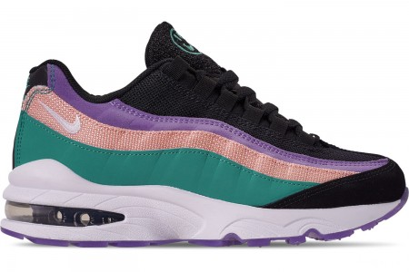 Nike Big Kids' Air Max 95 Casual Shoes - Black/White/Hyper Jade/Bleached Coral