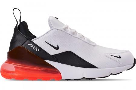 Nike Men's Air Max 270 Premium Leather Casual Shoes - White/Black/Crimson/Metallic Dark Grey